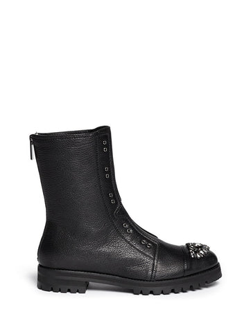 'Hatcher' crystal toe leather combat boots