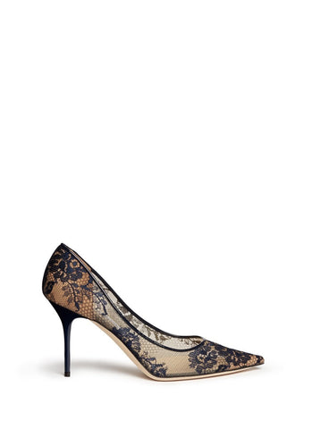 'Agnes' lace mesh pumps