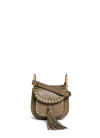 'Hudson' mini rivet fold trim leather shoulder bag