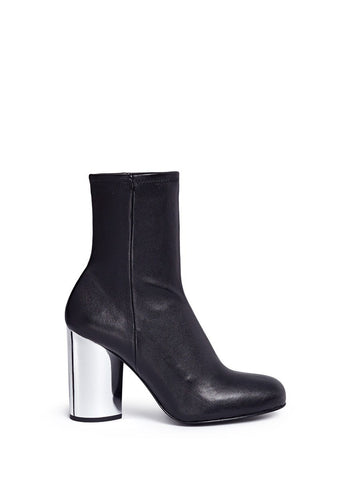 'Zloty' metallic heel leather mid calf boots-18435