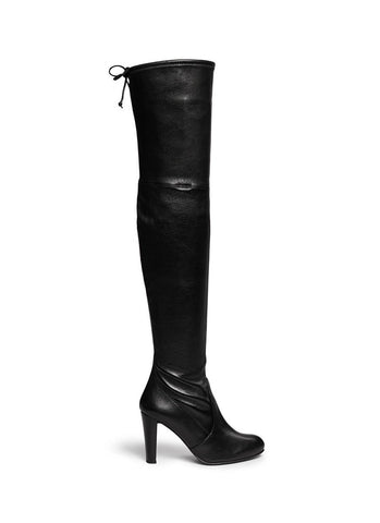 'Highland' stretch leather thigh high boots