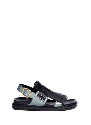 'Fussbett' colourblock kiltie fringe leather sandals