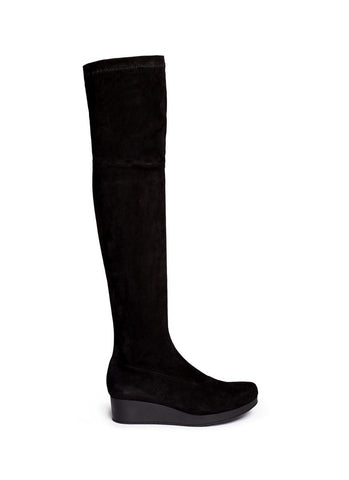 'Natuj' stretch suede wedge thigh high boots