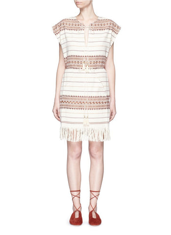 'Harlequin' stripe cotton fringed poncho dress