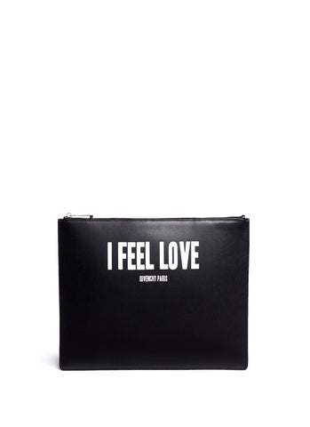 'I Feel Love' print iconic leather zip pouch