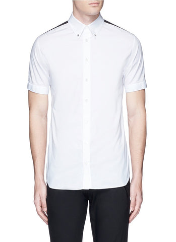 'Brad Pitt' grosgrain stripe stud cotton shirt