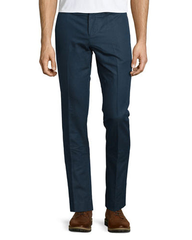 Slim Straight-Leg Cotton/Linen Trousers, Dark Sapphire