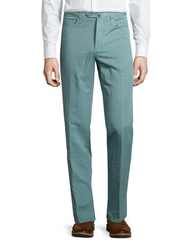 Linen-Blend Straight-Leg Trousers, Seafoam