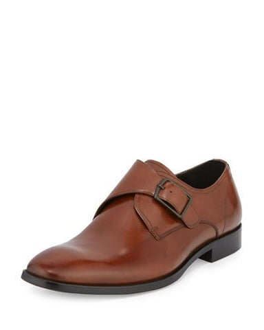 1 Way Ticket Monk-Strap Leather Loafer, Cognac