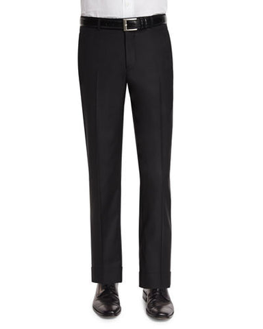 Classic Flat-Front Wool Trousers, Black