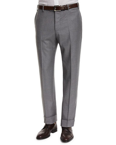 Parker Flat-Front Super 130's Flannel Trousers, Grey