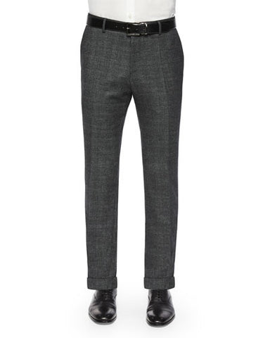 Slim-Fit Windowpane Wool Trousers, Gray