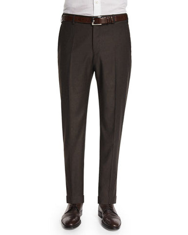 Parker Flat-Front Super 130's Flannel Trousers, Brown