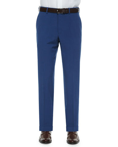 Seersucker Cotton/Linen Trousers, Navy