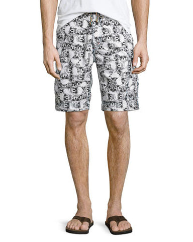 Bail-Out Skull-Print Swim Trunks, Multicolor