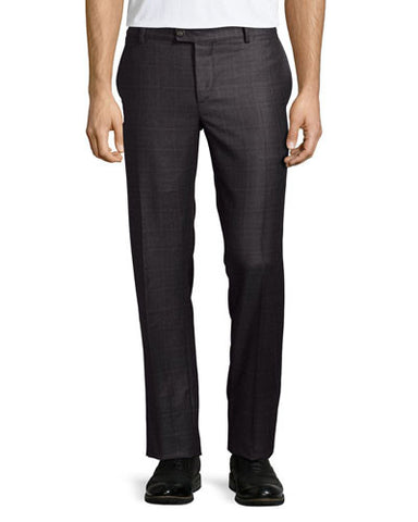 Flat-Front Wool Trousers, Grey