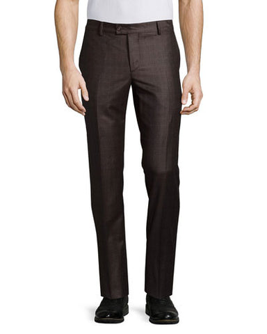 Flat-Front Wool Trousers, Brown