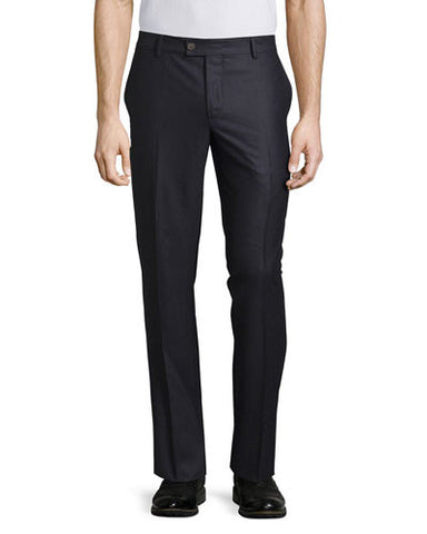 Flat-Front Cashmere Trousers, Blue Navy