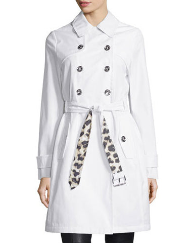 Belted Double-Breasted Trenchcoat, White/Leopard