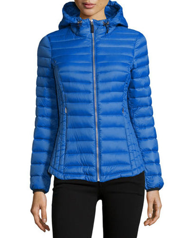 Ash Packable Puffer Coat, Cobalt