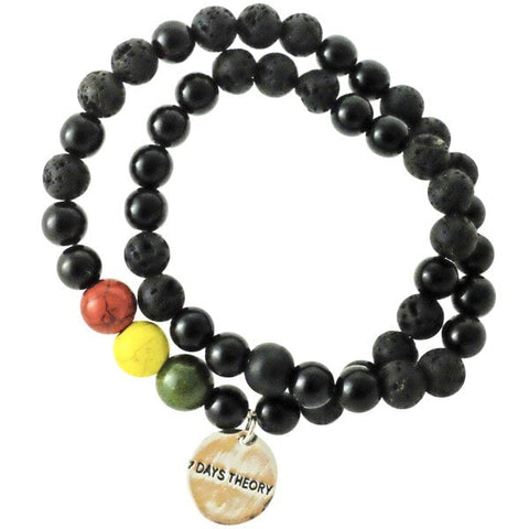 7 Days Theory - Lava Beads & Howlite Double Bracelet