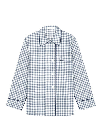 'Kate' gingham check organic cotton pyjama top