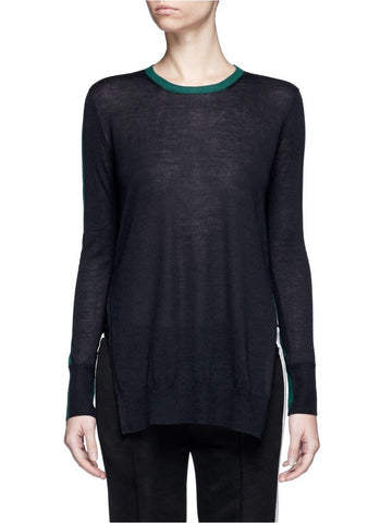 'Verity' contrast back long cashmere sweater