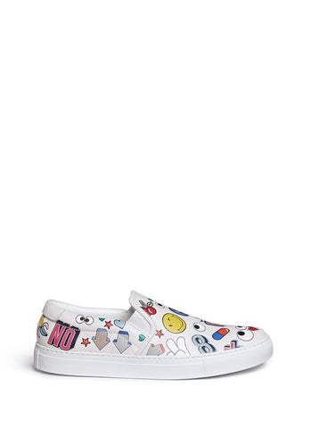 'All Over Sticker Skater' embossed leather slip-ons