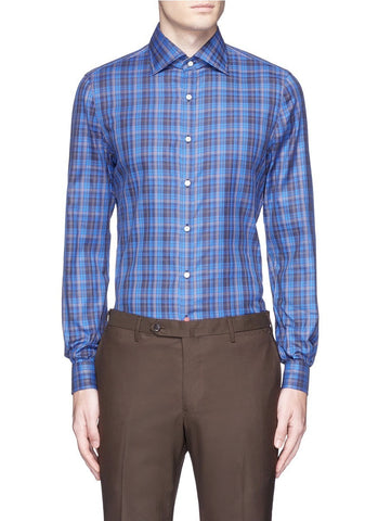 'Como' check cotton shirt-14137