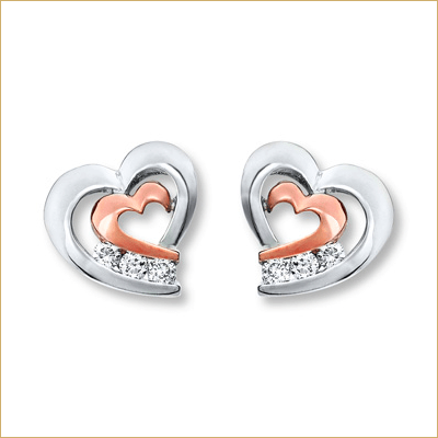 """10K White Gold and 10K Rose Gold Diamond Heart Earrings"" - SprintShopping"