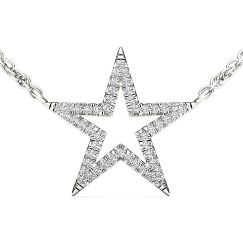 """1/7ct TDW Diamond Fashion Star Necklace in 10K"" - SprintShopping"
