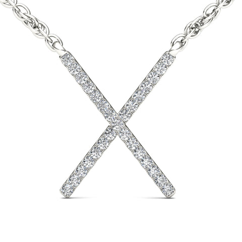 """1/10ct TDW Diamond Fashion X Necklace in 10K"" - SprintShopping"