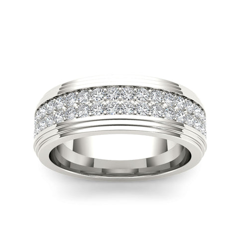 """1 1/5ct TDW Diamond Men's Wedding Band In 14K"" - SprintShopping"