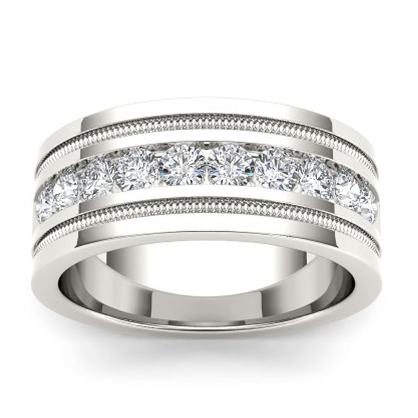 """1 1/10ct TDW Diamond Men's Wedding Band In 14K"" - SprintShopping"