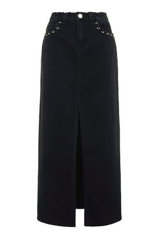*Caius Denim Maxi Skirt By Unique - Black