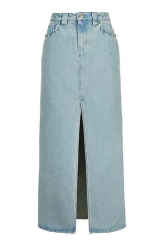 *Caius Denim Maxi Skirt By Unique - Denim