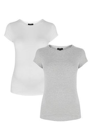 *MATERNITY Multi-Pack Crew Tees - Grey Marl