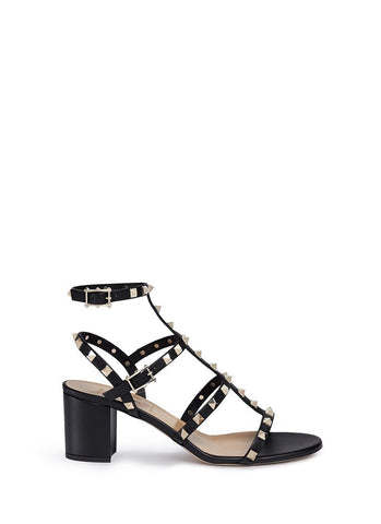 'Rockstud' caged leather sandals-19621
