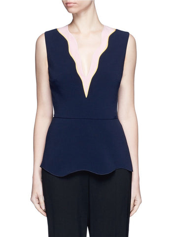 'Carla' scalloped V-neck sleeveless peplum top