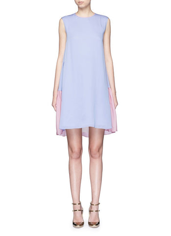 'Fuji' back ruffle hem colourblock dress
