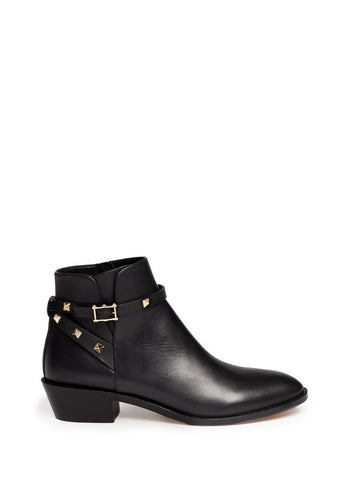 'Rockstud' strap leather ankle boots