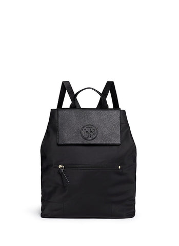 'Ella' packable saffiano leather flap nylon backpack-9370