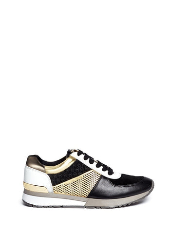'Allie' colourblock patchwork leather sneakers-19797