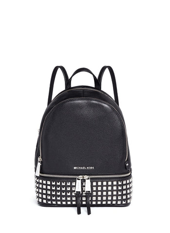 'Rhea' small stud leather backpack-9331