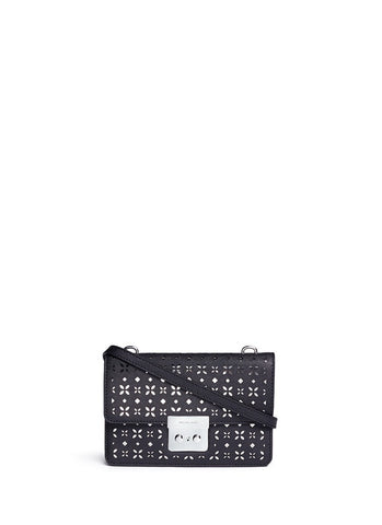 'Sloan' small floral perforated leather crossbody-9617