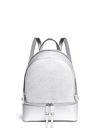 'Rhea' small metallic saffiano leather backpack