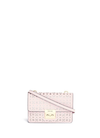 'Sloan' small floral perforated leather crossbody-9566