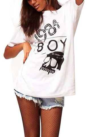 1984 Boy Skull Print T-shirt In White