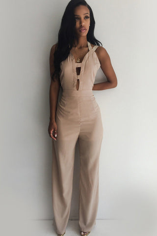 Apricot Cutout Design Crisscross Back Stylish Jumpsuit