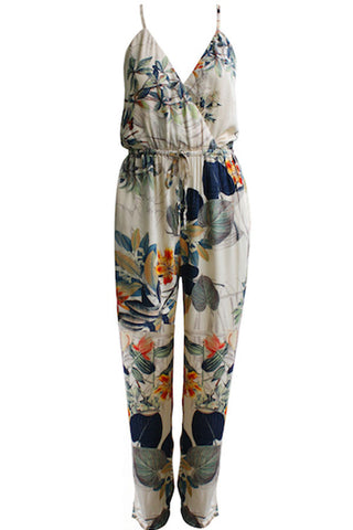 Apricot Floral Print Plunge V Neck Cross Back Jumpsuit